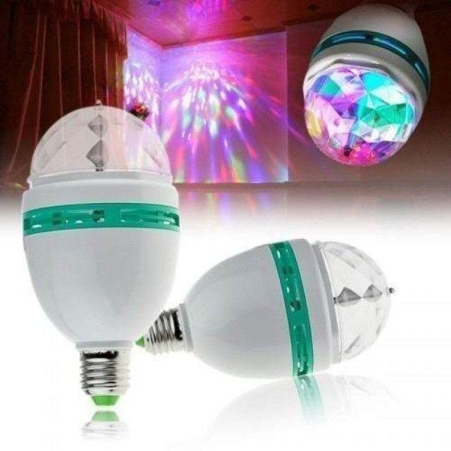Lâmpada Led Giratória RGB, Luzes Coloridas, Festa - Ecooda