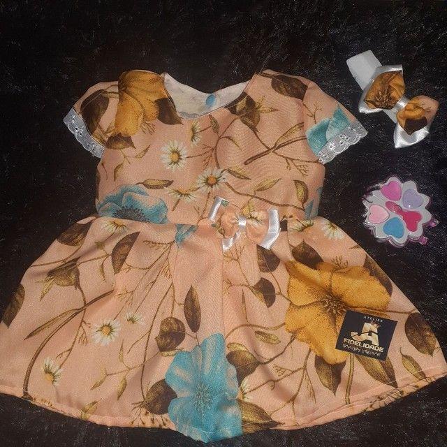 Vestidos infantis de 0 a 12messes acompanha tiara