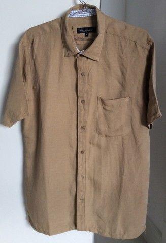 Camisa manga curta linho Azmorr marrom  - Foto 2
