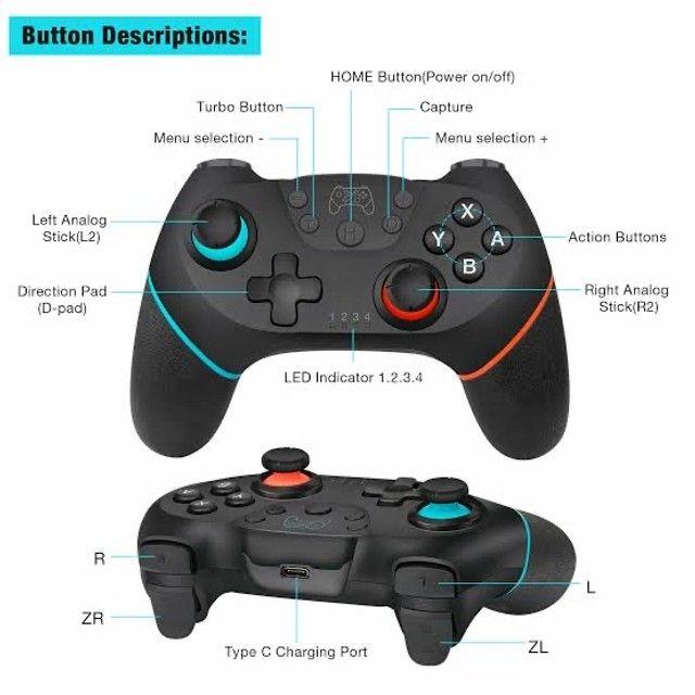 Controle Nintendo Switch Sem Fio Bluetooth Pro Controller Joystick - Foto 5