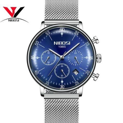 1b80f3a439f Relógio Masculino Nibosi 2331 Original 30 Metros Prata Azul ...