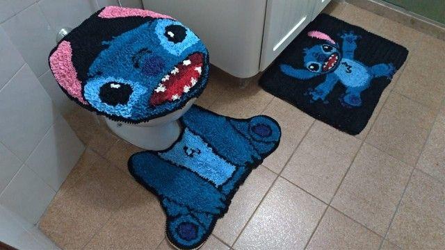 Tapete de frufru stitch - conjunto banheiro