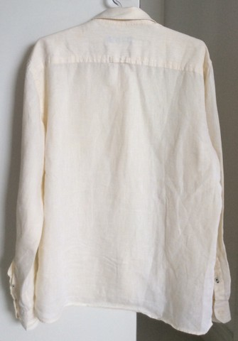 Camisa de manga de linho longa Denim amarela  - Foto 3