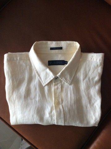 Camisa de manga de linho longa Denim amarela
