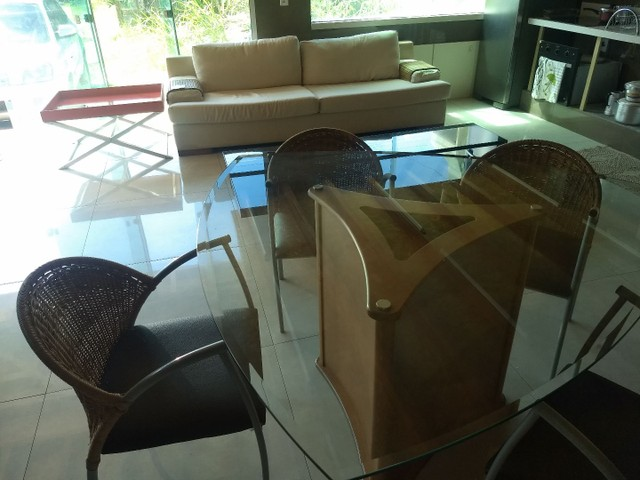 MESA TRIANGULAR + 6 CADEIRAS RATAN - Foto 4