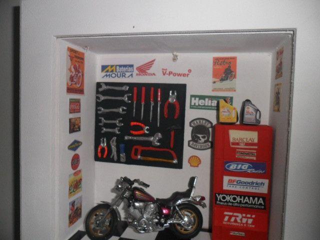 Quadro Oficina Moto miniatura c/Luz de led interna/externa - Foto 3