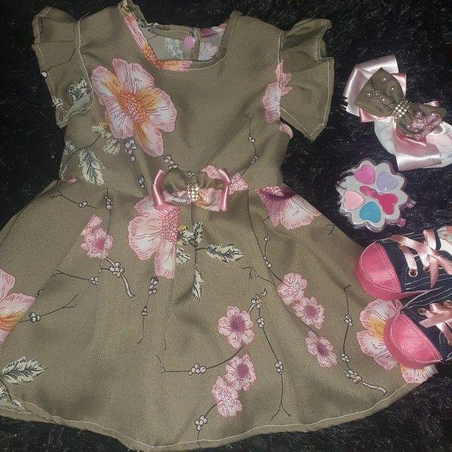 Vestidos infantis de 0 a 12messes acompanha tiara - Foto 6