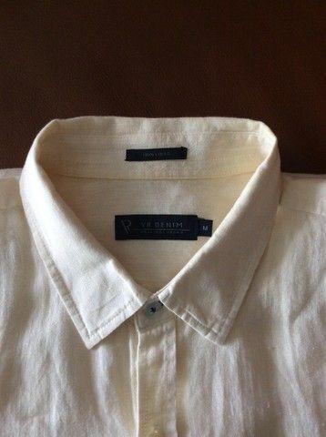 Camisa de manga de linho longa Denim amarela  - Foto 4