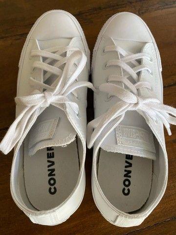 All Star Converse de couro branco  - Foto 4