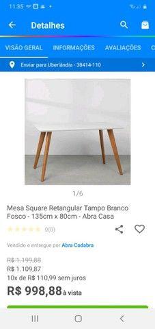 Mesa Square retangular tampo branco