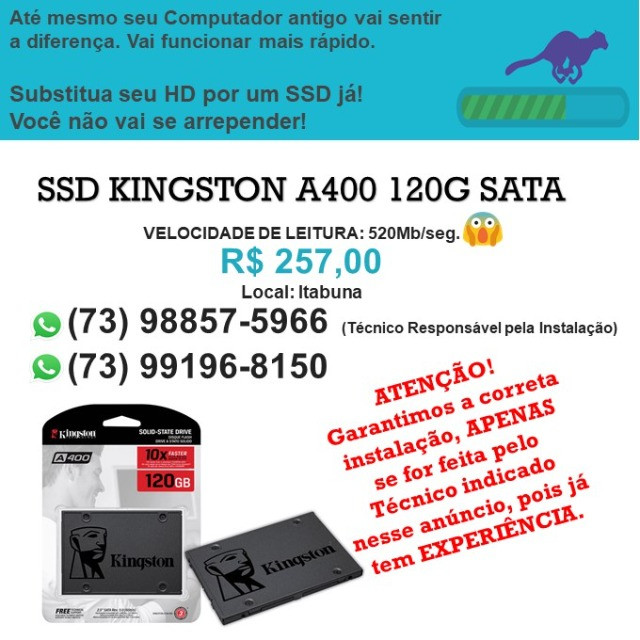 SSD Kingston A400 120giga SATA - NOVO - Original