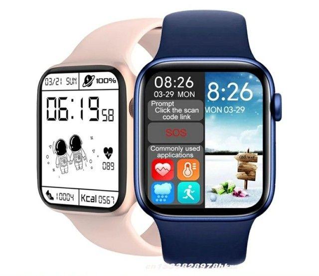 Smartwatch T500+PLUS+pulseira milanese magnética ambus na cor azul PROMOÇÃO - Foto 2