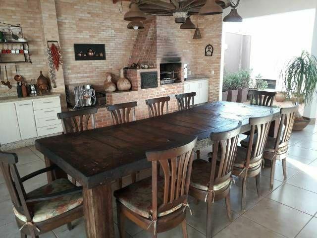 Mesa de madeira e luminária - Foto 2