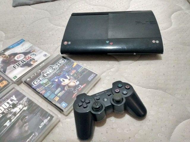 PS3 ORIGINAL COM 6 JOGOS E UM CONTROLE - Foto 2