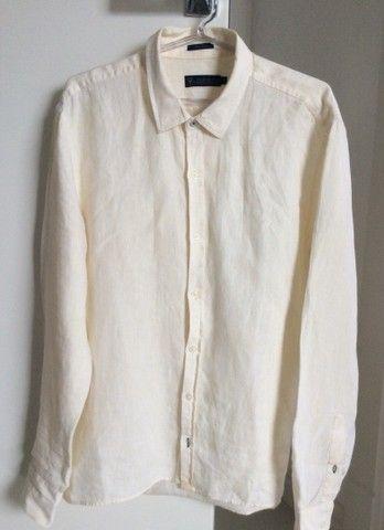 Camisa de manga de linho longa Denim amarela  - Foto 2