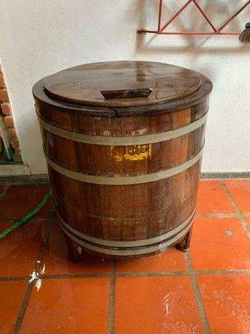 Máquina lavar roupa antiga madeira  - Foto 6