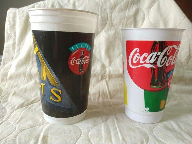 Lote com 2 copos antigos Coca cola