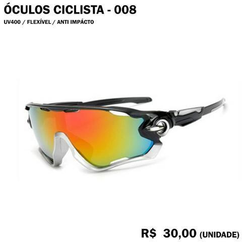 Óculos de Ciclismo 08 (Espelhado com Armação Preta e Cinza)