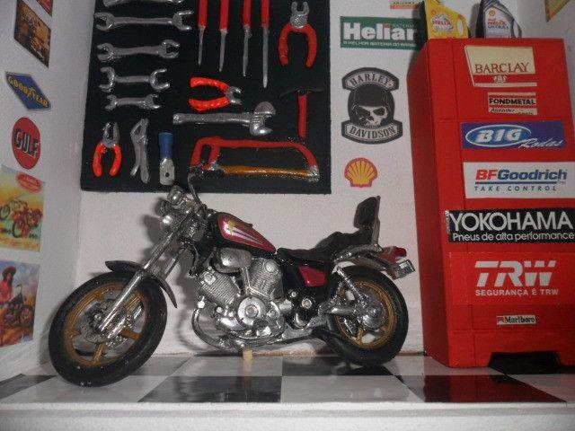 Quadro Oficina Moto miniatura c/Luz de led interna/externa - Foto 6