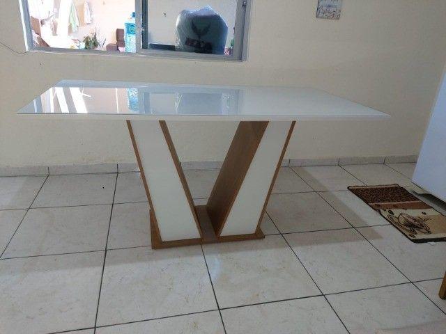 Mesa Guarda Tampo Vidro 1,60x0,90 com 6 Cadeiras - Foto 2