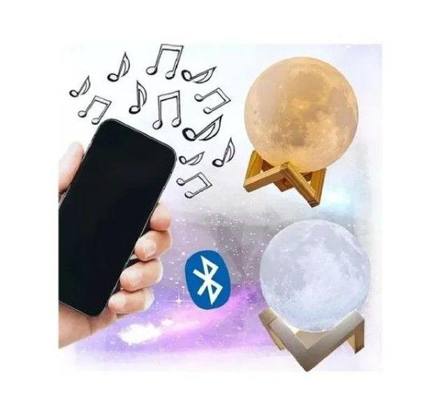 Luminária Lua Cheia Caixa de Som Bluetooth controle remoto - Foto 2