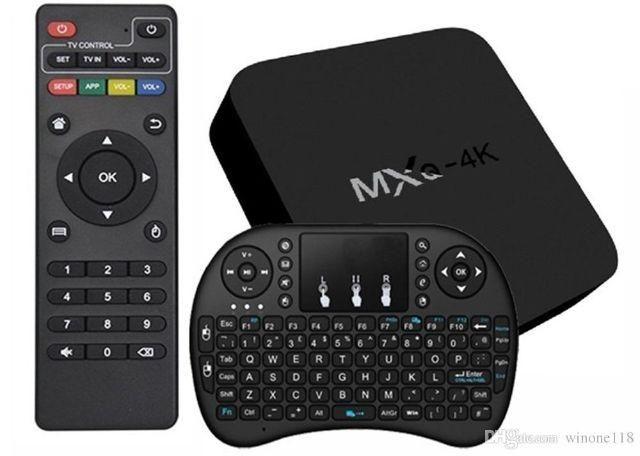 Smart Tv Box MXQ 4K Ultra Android 7.1 Configurado + Teclado luminoso sem fio wireless