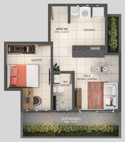 Apartamento á Venda 1 ou 2 quartos nos Bancários - Foto 6