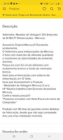 Voltimetro mercury 12v motor nautico - Foto 4