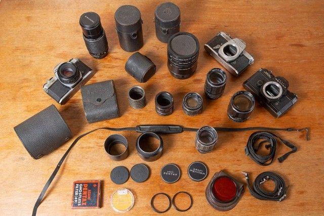 Kit 3 Cameras E 6 Lentes Pentax + Acessórios
