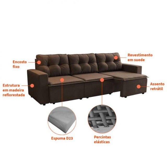 Sofa Retrátil 03 assentos Novo com Garantia - Foto 2