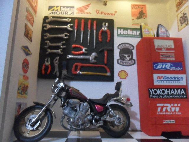 Quadro Oficina Moto miniatura c/Luz de led interna/externa - Foto 4