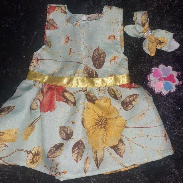 Vestidos infantis de 0 a 12messes acompanha tiara - Foto 5