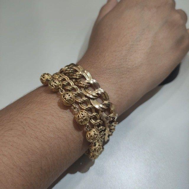 Pulseira Rommanel tripla fios folheado a ouro 18k Ana Hickmann  - Foto 2