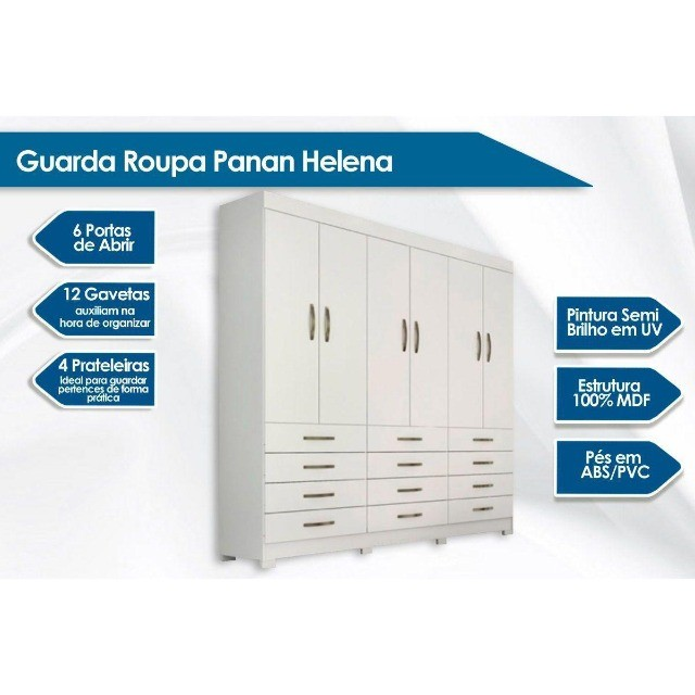Roupeiro Panan Helena 6 Portas e 12 Gavetas   - Foto 2