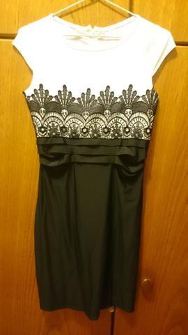 5bcfa5d9992a Vestido feminino c/ detalhe em renda, preto e branco - Tamanho M ...