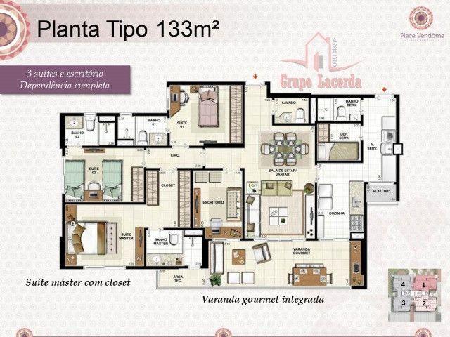 Apartamento na Ponta Pegra 133m2 3 suites - Foto 4
