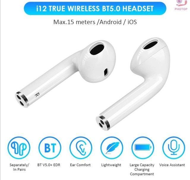 Fone de ouvido I12 para iPhone e Android  Bluetooth - Foto 4
