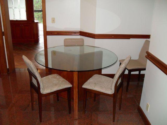 Conjunto de mesa de jantar com tampa de vidro redonda, base de madeira de lei, 4 cadeiras