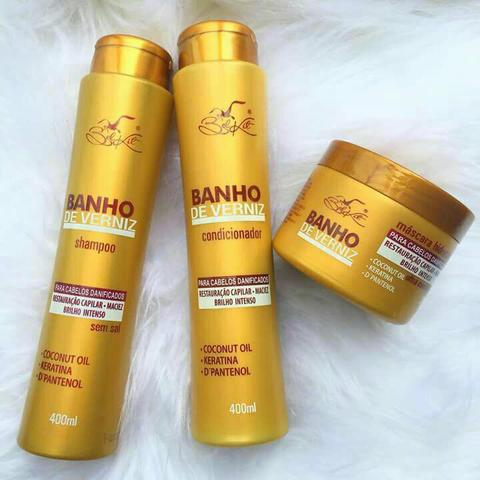Shampoo, Condicionador e Máscara Verniz D'oura Hair. *Preço imbatível