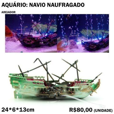 Decoração de Aquário: Arejador Navio Naufragado