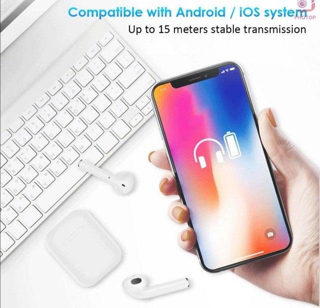 Fone de ouvido I12 para iPhone e Android  Bluetooth - Foto 5
