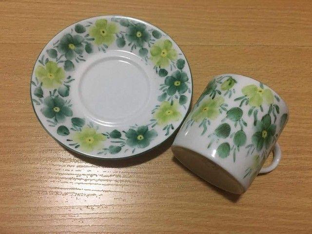 Jogo de café - Porcelana Steatita- -Pintura a mão- Anos 70  - 7 peças   - Foto 3