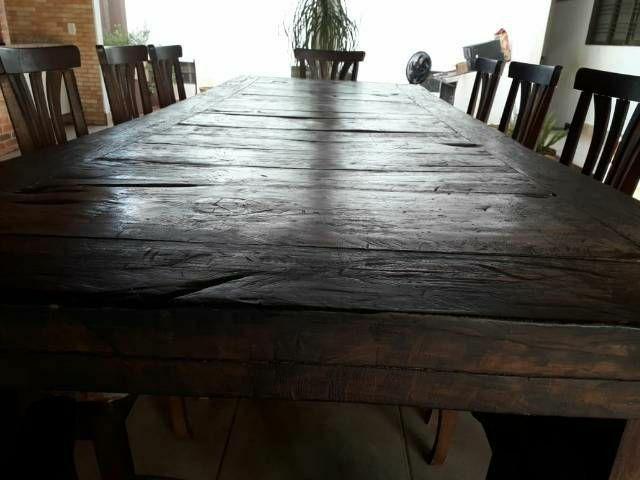 Mesa de madeira e luminária - Foto 4