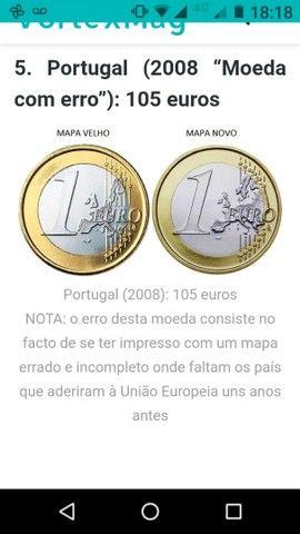 Moeda de 1 euro, com mapa velho