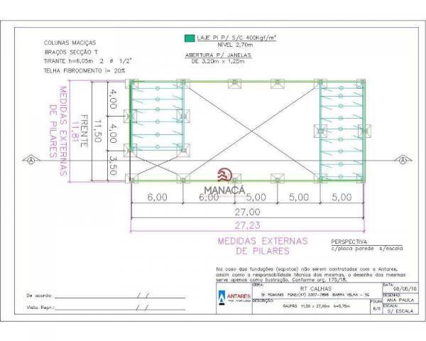 Galpão para alugar, 313 m² por r$ 3.500,00/mês - itajuba - barra velha/sc - Foto 16