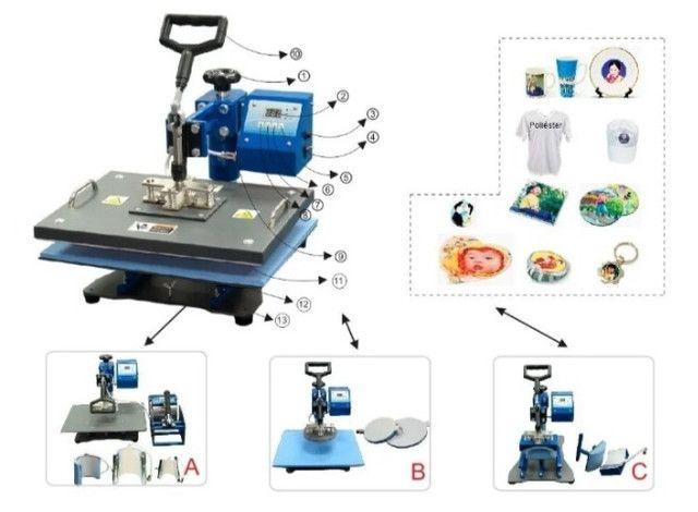 ?Vendo prensa térmica para sublimação 8x1 220v + impressora - Foto 2