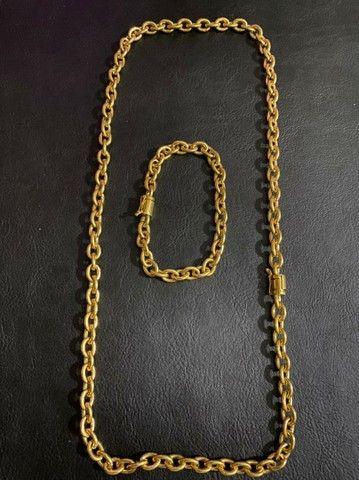 Conjunto cadeado 6mm de moeda antiga idêntica a ouro com garantia eterna