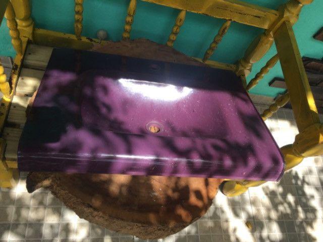 Tampo de pia roxo De vidro- novo - lindo - Foto 2