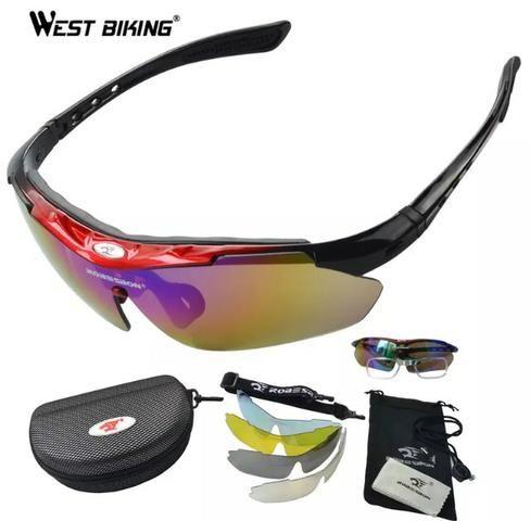 Óculos esportes 5 lentes,lente polarizada,ideal para pesca,bike,bicicleta fef9728037