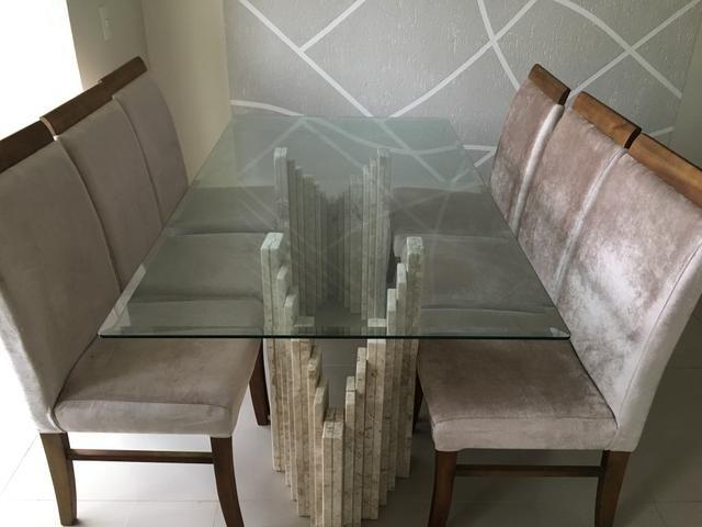 Mesa em travertino e vidro 6 lugares